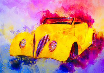 Mixed Media - 37 Ford Roadster Yellow Watercolour by Chas Sinklier
