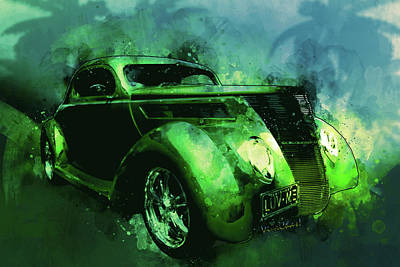 Digital Art - 37 Ford Street Rod Luv Me Green Meanie by Chas Sinklier