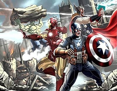 The Avengers Drawing Art Print by Egor Vysockiy