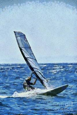 Painting - Windsurfing by George Atsametakis