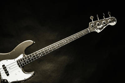 Photograph - 370.1834 Fender Red Jazz Bass Guitar In Bw by M K Miller