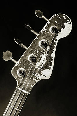 Photograph - 372.1834 Fender Red Jazz Bass Guitar In Bw by M K Miller