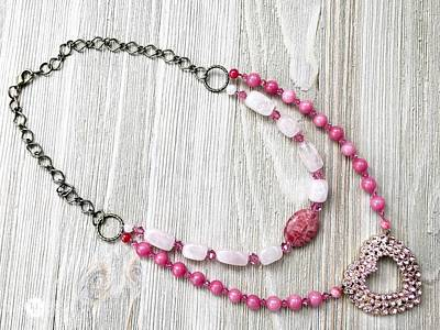 3727n Pretty In Pink Upcycled Faux Double Necklace Original