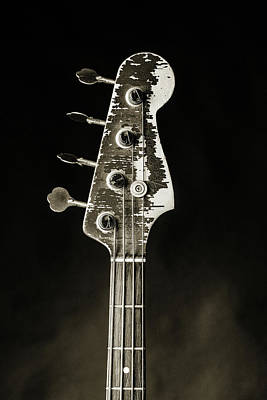 Photograph - 374.1834 Fender Red Jazz Bass Guitar In Bw by M K Miller