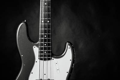Photograph - 377.1834 Fender Red Jazz Bass Guitar In Bw by M K Miller