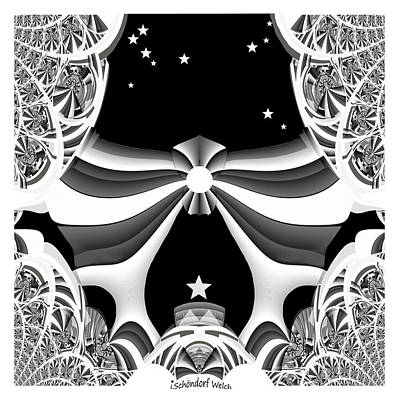 Digital Art - 378 White Fantasy  Fractale A by Irmgard Schoendorf Welch