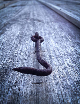 Photograph - Iron Hook On Old Wood by Vintage Pix