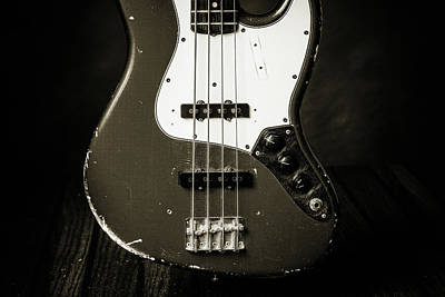 Photograph - 380.1834 Fender Red Jazz Bass Guitar In Bw by M K Miller
