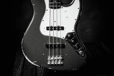 Photograph - 381.1834 Fender Red Jazz Bass Guitar In Bw by M K Miller