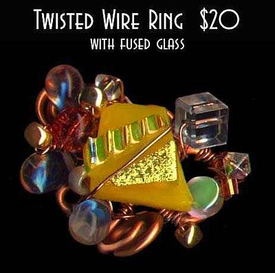 Fused Mixed Media - Twisted Wire Ring by Michelle Lake