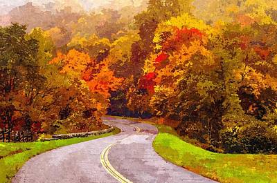 Painting - Autumn Drive On Blue Ridge Parkway by Alex Grichenko