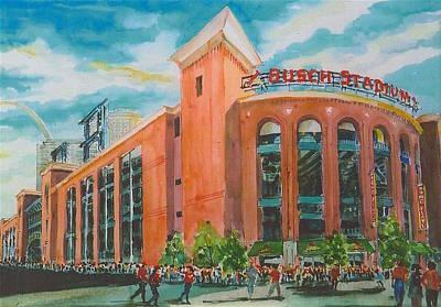 Baseball Art Painting - 39 New St Louis Busch Stadium by Marilynne Bradley
