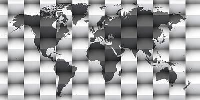 Atlas Digital Art - 3d Black And White World Map by Alberto RuiZ