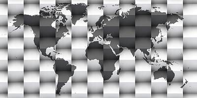 Background Digital Art - 3d Black And White World Map Composition by Alberto RuiZ