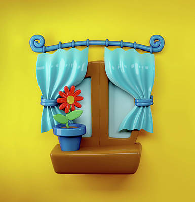Interior Design Digital Art - 3d Cartoon Home Window by Oksana Ariskina