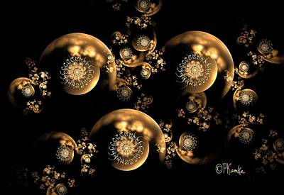 Digital Art - 3d Filagree Gold Pearl Chain by Patricia Kemke