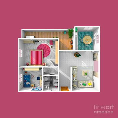 Outdoor Graphic Tees - 3d Furnished Home Apartment Fuchsia 2104 by Massimiliano