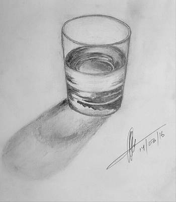 Glass Wall Drawing - 3d Glass Of Water by Collin A Clarke