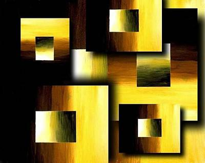 3d Golden Squares Art Print by Teo Alfonso