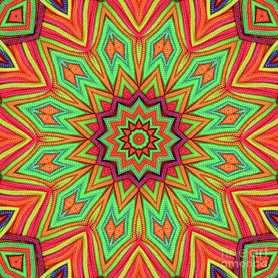 Photograph - 3d Green Orange Kaleidoscope by Ludek Sagi Lukac