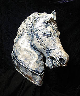 Sculpture - 3d Horse Head Sculpture by Patience