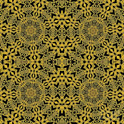 Digital Art - 3d Look Golden Kaleidoscopes Mandalas 1 by Rose Santuci-Sofranko