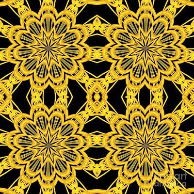 Digital Art - 3d Look Golden Kaleidoscopes Mandalas 2 by Rose Santuci-Sofranko