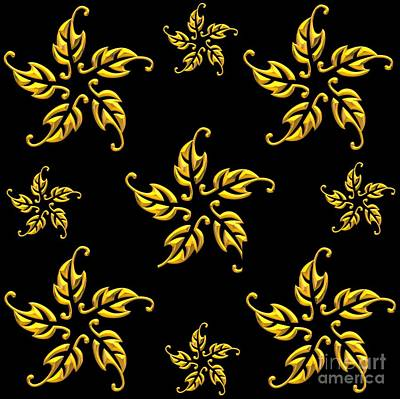 Digital Art - 3d Look Golden Leaves Rosettes by Rose Santuci-Sofranko