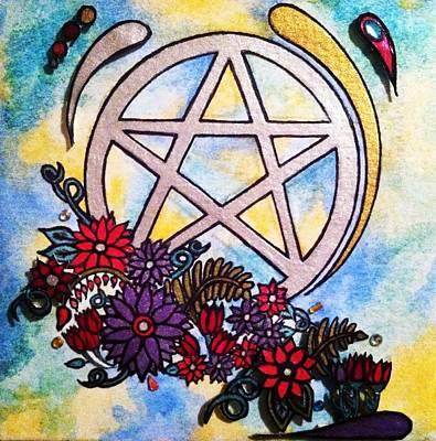 Pentagram Artwork Painting - 3d Pentacle Image by Kristina Rinier