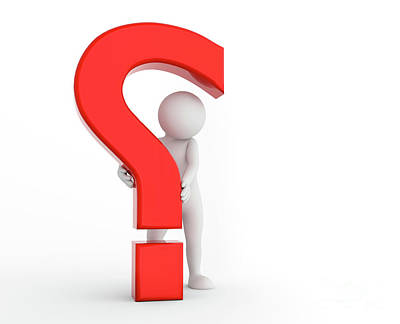 Copy Photograph - 3d Question Mark Being Hold By A Toon Man. Faq, Ask, Search Concepts by Michal Bednarek