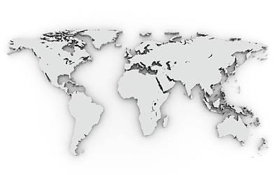 3d Silver World Map Art Print by Chen Hanquan