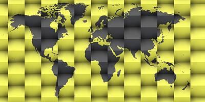 Mapping Digital Art - 3d World Map 7 by Alberto RuiZ