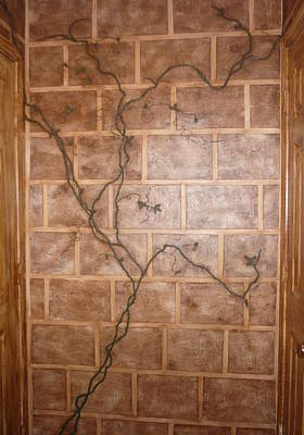Mural Mixed Media - 3dinensional Vine Over Faux Stone Bricks by Dawn Dovell