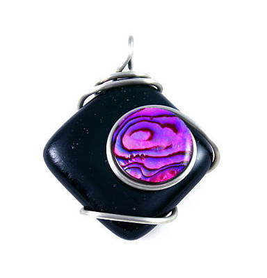 Cabochon Wall Art - Mixed Media - 3fine Design Black Fused Glass -n- Pink Paua Pendant by Tracy Behrends