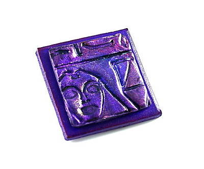 Pharoah Mixed Media - 3fine Design Handcrafted Leather -n- Polymer Clay Brooch - Purple by Tracy Behrends