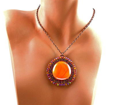 Cabochon Wall Art - Jewelry - 3fine Design Mayan Sunset Beaded Cabochon by Tracy Behrends