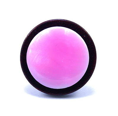 Adjustable Ring Mixed Media - 3fine Design Pretty In Pink Ring Leather -n- Shell by Tracy Behrends