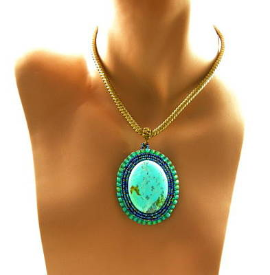 Cabochon Wall Art - Jewelry - 3fine Design Turquoise Beaded Cabochon by Tracy Behrends