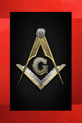 Digital Art - 3rd Degree Mason - Master Mason Jewel On Red And Black Canvas by Serge Averbukh