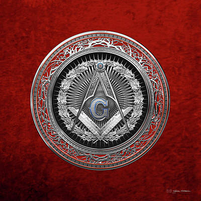Digital Art - 3rd Degree Mason Silver Jewel - Master Mason Square And Compasses Over Red Velvet by Serge Averbukh