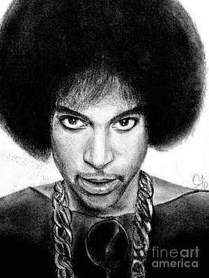 Drawing - 3rd Eye Girl - Prince Charcoal Portrait Drawing - Ai P Nilson by Ai P Nilson
