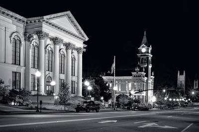 Stars Photograph - 3rd Street In Wilmington North Carolina In Black And White by Greg Mimbs