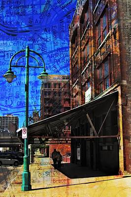 Street Lamps Digital Art - 3rd Ward Awning Abstract Map by Anita Burgermeister
