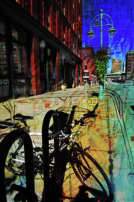 Street Lamps Digital Art - 3rd Ward Bicycle Abstract Map by Anita Burgermeister