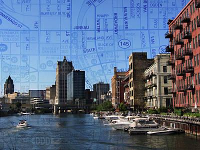Photograph - 3rd Ward River Boats W Map 2 by Anita Burgermeister