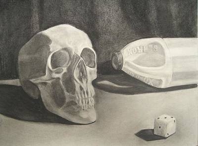 Skull Drawing - 3wo2 by Margaret  Marzullo