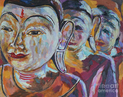 Painting - 3wooden Buddhas by Michael Cinnamond