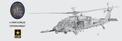 Helicopter Drawing - 4 160th Soar A Chupacabras by Nicholas Linehan