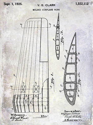 Antique Airplane Photograph - 1925 Airplane Wing Patent by Jon Neidert