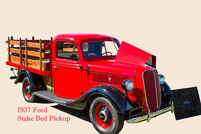 Photograph - 1937 Ford Stake Bed Pickup Antique Vintage Photograph Fine Art P by M K Miller
